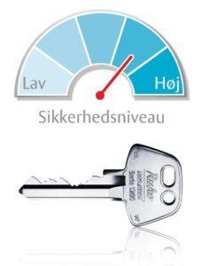 6-stiftet nøgle med bedre sikkerhedsniveau til lås til hoveddøren