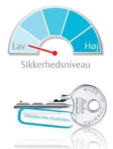 5-stiftet nøgle med lavt sikkerhedsniveau