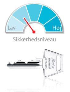 6-stiftet nøgle med lavt sikkerhedsniveau til lås til hoveddør